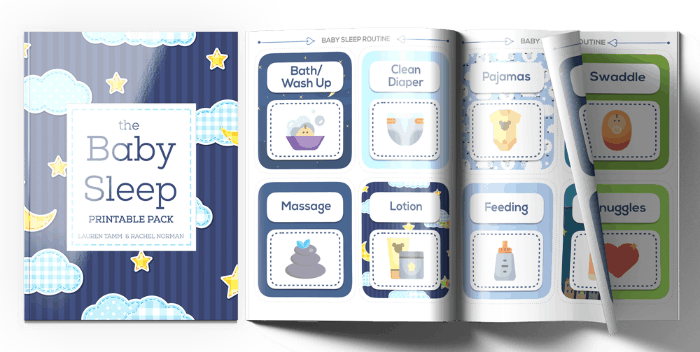 Adorable baby sleep routine cards. Help support your baby